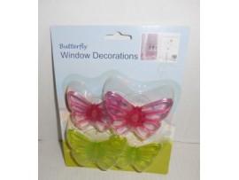 Butterfly Window  Decor 4pc W/Suction